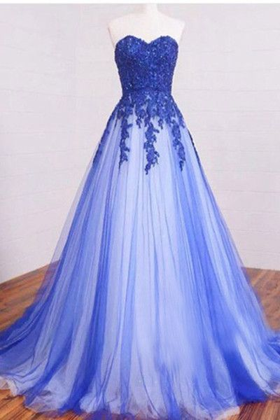 New Arrival Sweetheart Long Lace Appliques Prom Dress,Strapless Royal Blue Tulle Prom Dresses,Custom Made,Party Gown,Cheap Evening dress