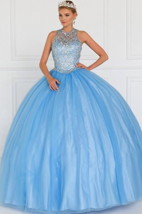 Blue Tulle Ballgown with Beaded Back Out Bodice,Custom Made,Party Gown,Cheap Evening dress
