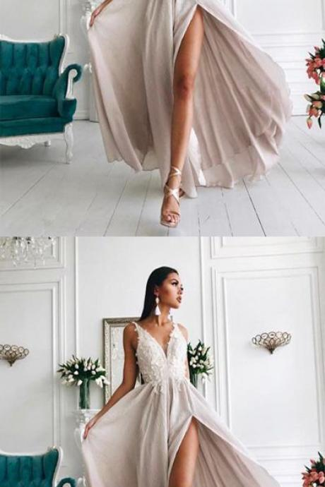Newest V-Neck Ivory Long Chiffon Prom Dress ,Applique A-Line Prom Dress with Slit Side,Custom Made,Party Gown,Cheap Evening dress