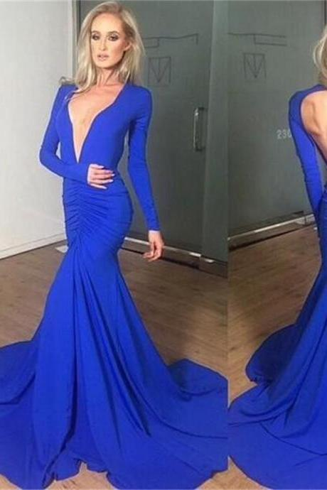 Chic Prom Dresses V-neck Backless Sexy Trumpet/Mermaid Prom Dress/Evening Dress ,Custom Made,Party Gown,Cheap Evening dress