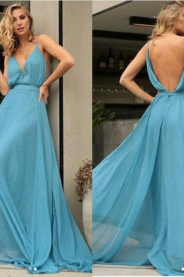 Blue A-Line Chiffon Sexy Deep V-Neck Prom Dresses Backless Evening Party Gowns,Custom Made,Party Gown,Cheap Evening dress