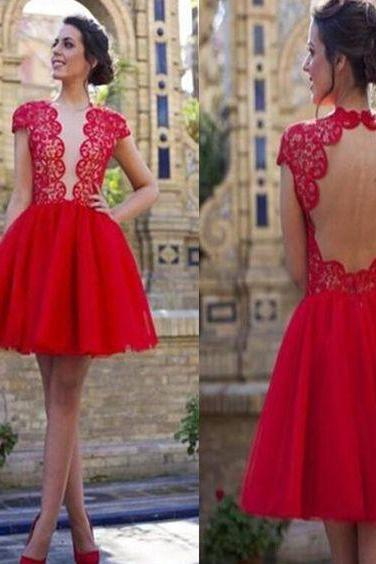 popular red open back sexy with short sleeve cocktail homecoming dresses,Custom Made,Party Gown,Cheap Evening dress