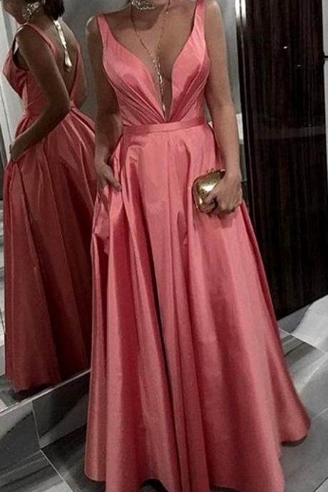 Deep V Neck Taffeta Long Prom Dress Coral Formal Evening Gown,Custom Made,Party Gown,Cheap Evening dress