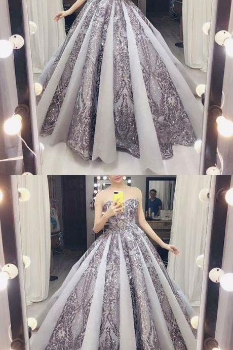 A-Line Sweetheart Floor-Length Grey Tulle Prom Dress with Appliques Beading, gorgeous grey ball gown ,Custom Made,Party Gown,Cheap Evening dress