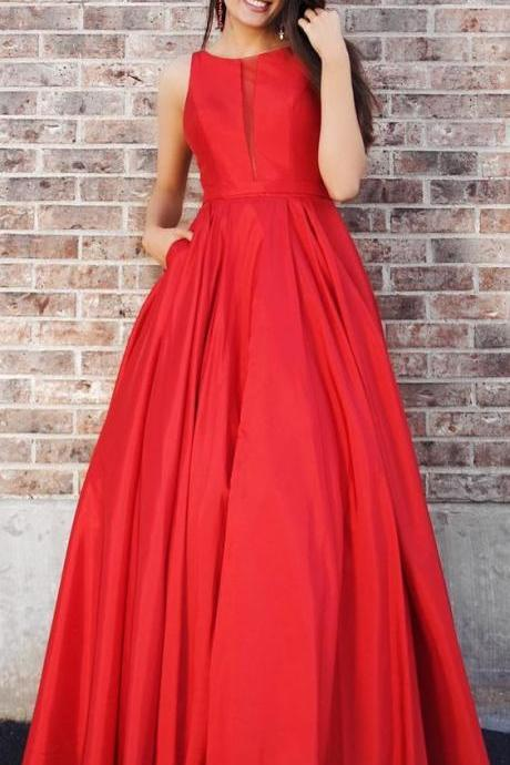 red long prom dress with pockets, elegant red long evening dress party dress,Custom Made,Party Gown,Cheap Evening dress