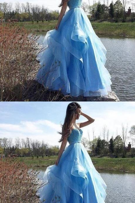 Light blue strapless tulle long prom dress, evening dress,Custom Made,Party Gown,Cheap Evening dress