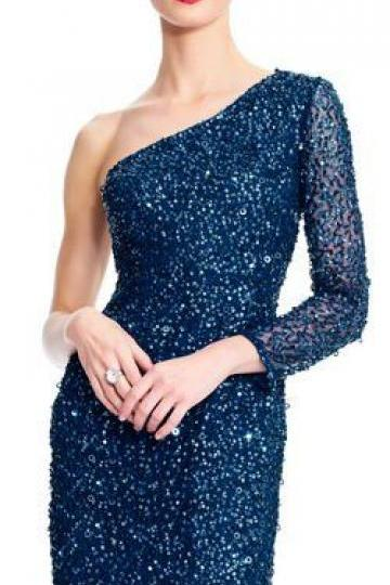 One Shoulder Long Sleeve Sequin Beaded Cocktail Dress,Custom Made,Party Gown,Cheap Evening dress