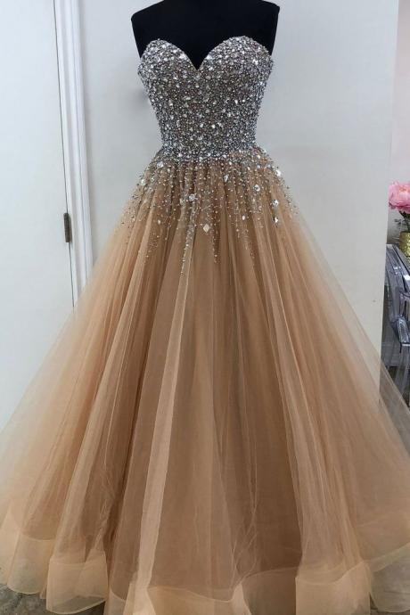 CHAMPAGNE SWEETHEART TULLE SEQUIN LONG PROM DRESS, CHAMPAGNE EVENING DRESS