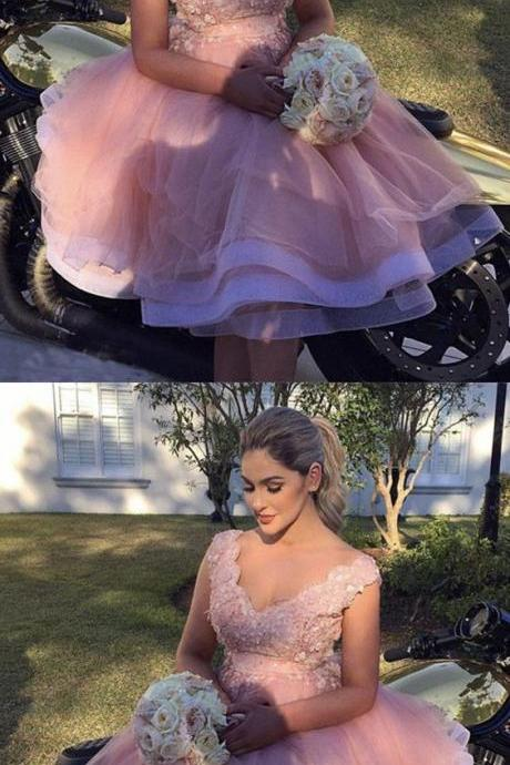 Short Mini Ball Gowns Organza Homecoming Dresses Lace V-neck Cocktail Dress