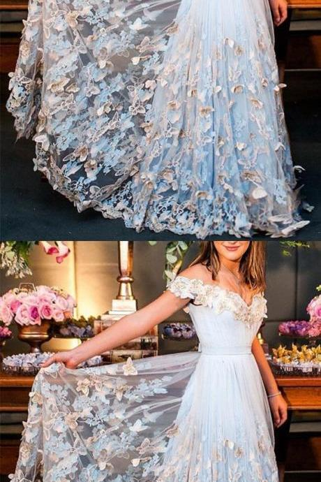 Butterfly Lace Embroidery V-neck Off The Shoulder Tulle Prom Dresses Long Formal Evening Gowns