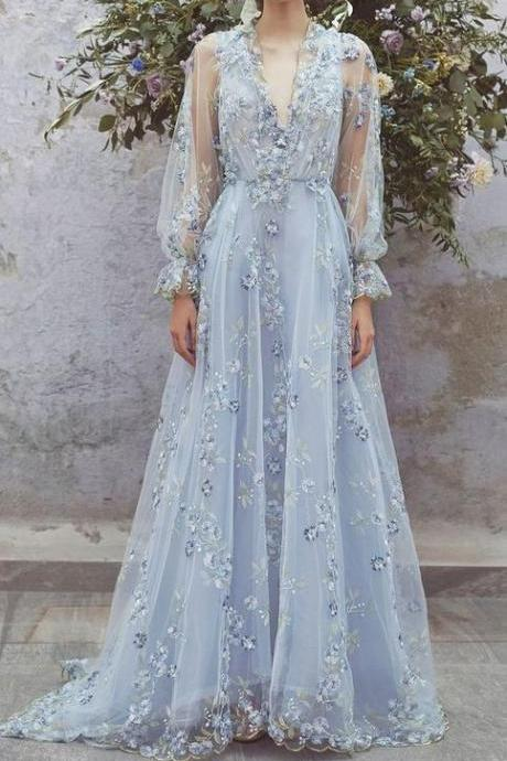 Deep V-neck ,Long Lantern Sleeves ,Sweep Train,Floral Embroidered Dress with Appliques ,Custom Made,Floor Length ,2018 New Fashion,Custom Made,Party Gown,Cheap Prom Dress