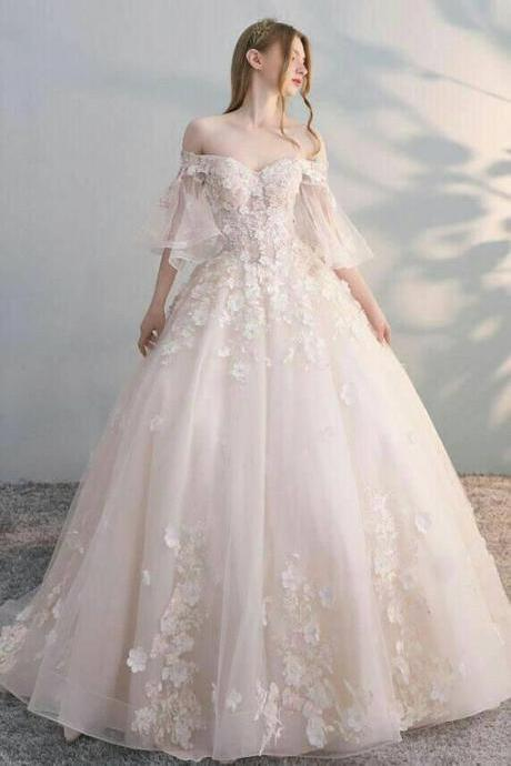 A Line Wedding Dress ,off shoulder prom dress,Custom Made,Party Gown