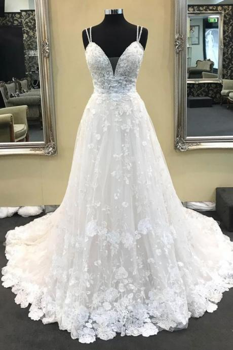 WHITE V NECK LACE LONG PROM DRESS, WHITE LACE WEDDING DRESS