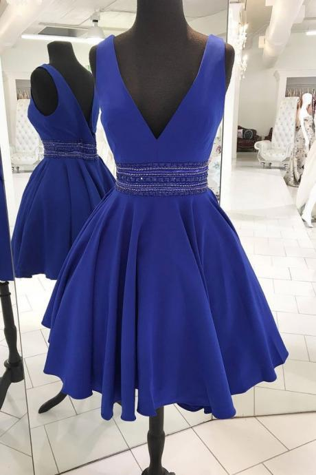 CUTE V NECK BLUE BEADS SHORT PROM DRESS, BLUE HOMECOMING DRESS