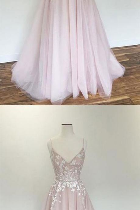 Light pink v neck tulle applique long prom dress, pink evening dress, Long Party Dress, Evening Party Prom Dresses ,Party Gown