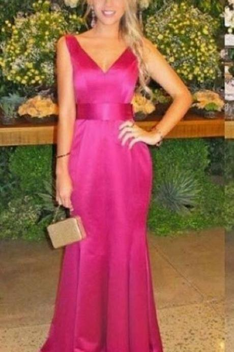 A Line Evening Dresses, V Neck Prom Dress, Long Party Dress, Evening Party Prom Dresses ,Party Gown