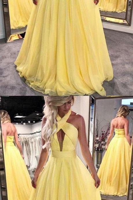 Unique Yellow Dress, Halter A-Line Chiffon Prom Dress,Yellow Prom Dress