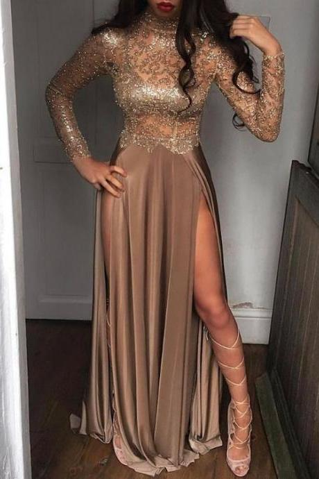 Sequins High Slit Gown, Cocktail Party Maxi Dress,long prom dress