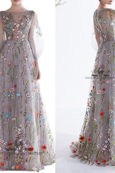 Straight Neckline Long Party Dress, A-line Embroidery Dress, Tulle Prom Dress, Popular Floral Prom Dress