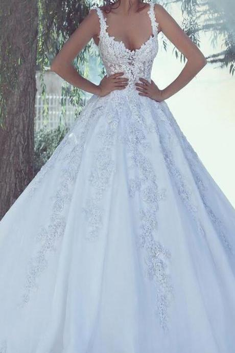 Tulle weeding dress, Sweetheart Neckline A-line Wedding Dress,weeding dress with lace appliques
