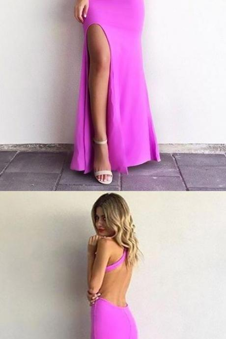 Sexy Prom Dresses, Halter Evening Dress, Long Slit Prom Dress