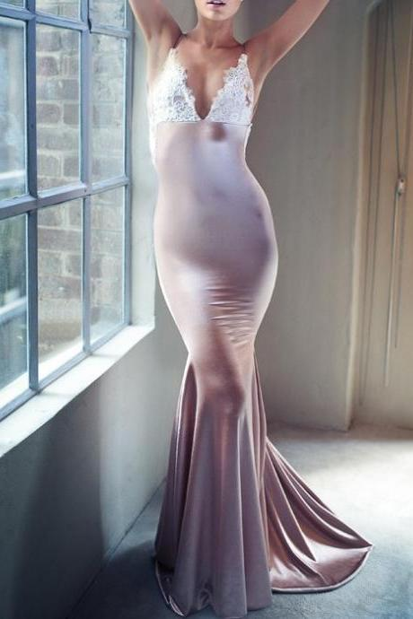 New Sexy Mermaid Party Dress, V-neck Long Prom Dress ,Open Back Prom gown ,Sexy Evening Gowns