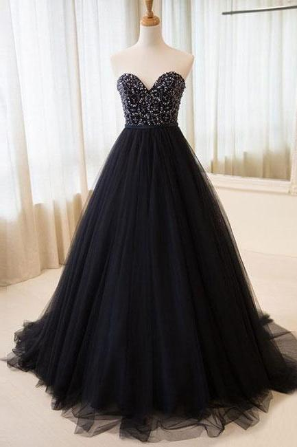 Elegant A-Line Beading Prom Dress, Black Tulle Long Prom Dress,Evening Dress,Custom Made