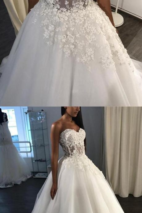 A-Line Sweetheart Sweep Train Wedding Dress,Tulle Appliques Wedding Dress,Bride Dress