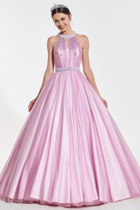 A-Line Beaded Jewel Pearls Dress,Pink Party Gown,Halter Prom Dress