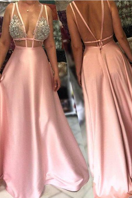 Charming Open Back Evening Gowns, Long Formal Dress ,Sexy Long Party Dress,Deep V Neck Prom Dress