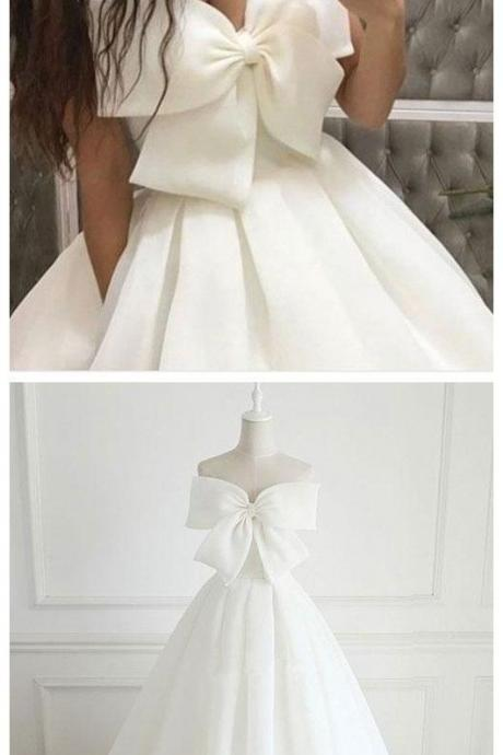 Cute White Big Bow-knot Prom Dress,Strapless Evening Dress,Satin Party Dress