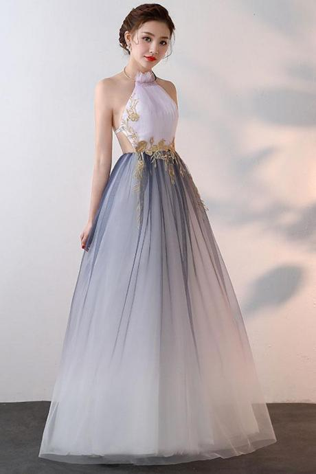 New Style A-line Prom Dress, High Neck Tulle Prom Dresses,Party Dress With Applique