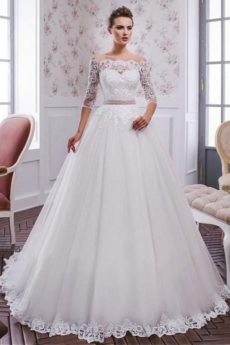 Tulle Neckline A-line Wedding Dress ,Weeding Dress With Lace Appliques & Belt,New Fashion,Custom Made
