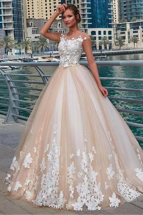 Glamorous Tulle Sheer Jewel Neckline Ball Gown, Wedding Dress With Lace Appliques & 3D Flowers,New Fashion,Custom Made