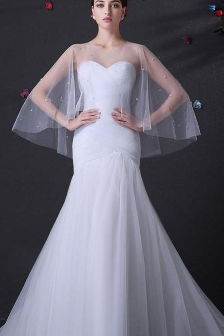 Alluring Tulle Sweetheart Neckline Mermaid Wedding Dress,New Fashion,Custom Made