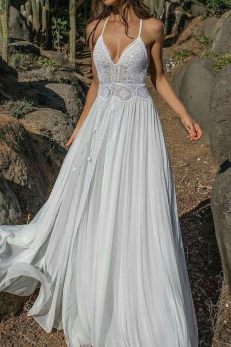 Long Lace Princess Prom Dresses,Wedding Dresses ,Chiffon Weeding Dress