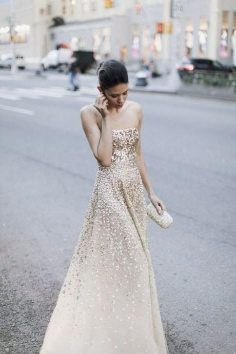 Gold Sequin Princess Prom Dresses,Wedding Dresses ,Party Dress