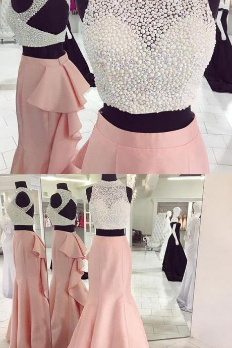 long prom dress, two piece prom dress, pink prom dress