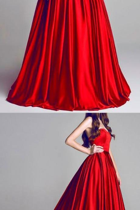 Elegant A-Line Sweetheart Red Party Dress, Floor-Length Red Prom/Evening Dress