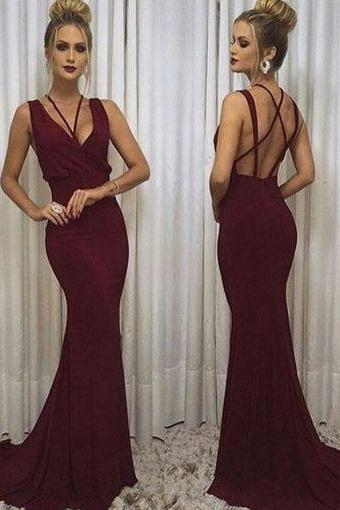 modest prom dresses,vintage prom dresses,simple halter prom dresses backless burgundy Evening Dress