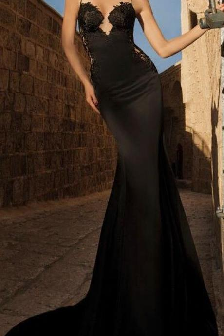Mermaid Black Prom Dress,Sexy Open Back Evening Dress,Lace Party Dress