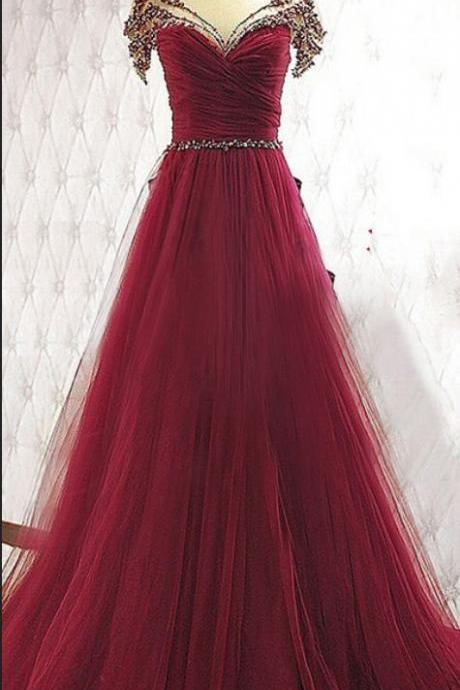 Charming Burgundy Prom Dresses,Beaded Handmade Prom Gowns,Long Prom Dress
