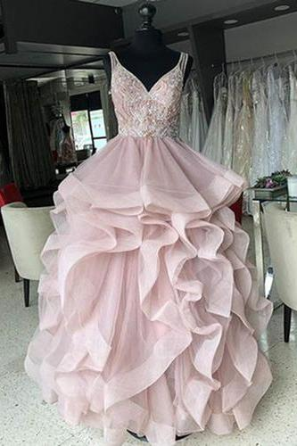 2019 Pink tulle long V neck halter layered evening dress, pink prom dress