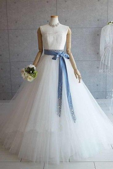 Sweetheart white tulle strapless wedding dress, formal dress with sash