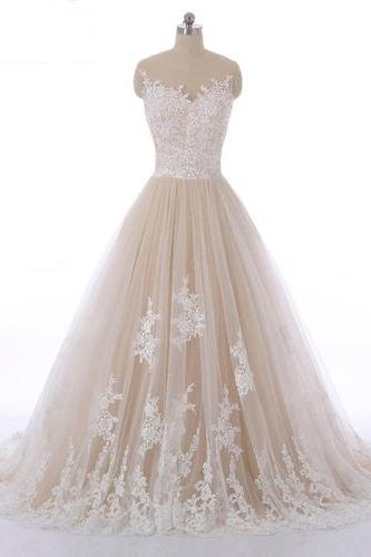 Champagne tulle A-line customize long evening dress, long senior prom dress with lace appliques