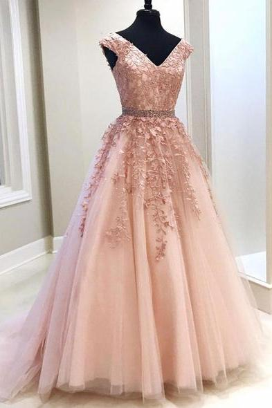 Elegant pink tulle V neck prom dress, cap sleeve long beaded belt senior prom dress with lace applique