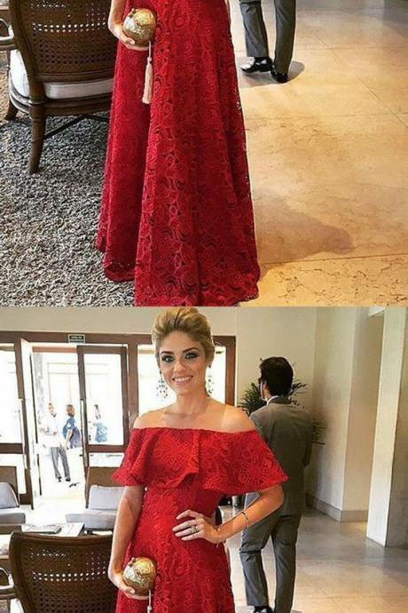 floor length lace red evening dresses, burgundy off the shoulder long prom dresses