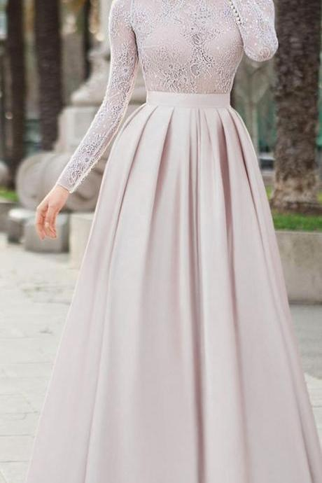 Winsome Lace & Satin Jewel Neckline Long Sleeves Prom Dress, A-line Evening Dress
