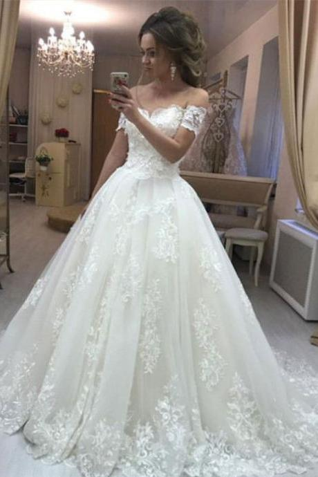 Off Shoulder Wedding Dresses, Bridal Gown With Appliques Court Train