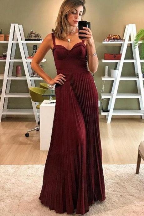 Spaghetti Straps Burgundy Prom Dresses, Long Evening Dresses